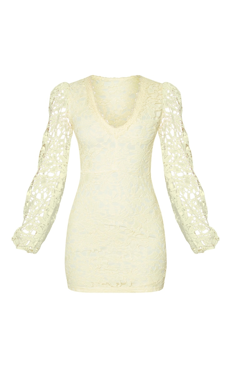 Pale Yellow Lace Long Sleeve Plunge Bodycon Dress 5