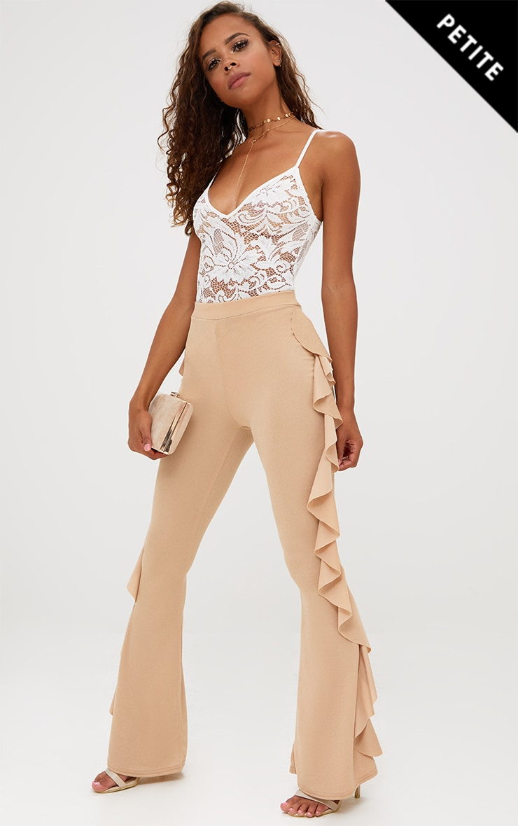 Petite Stone Ruffle Side Flared Trousers 1