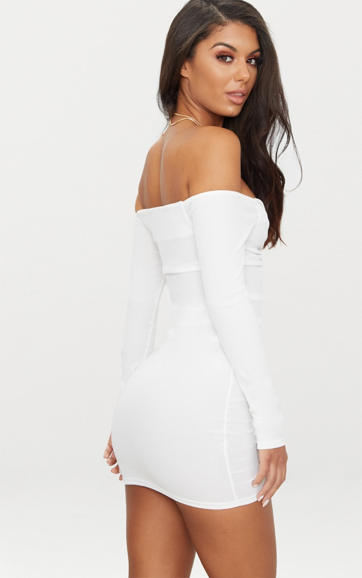 White Ribbed Long Sleeve Bardot Ruched Bodycon Dress 2