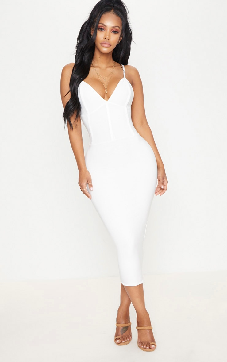 Shape Ivory Slinky Panelled Midi Dress 1