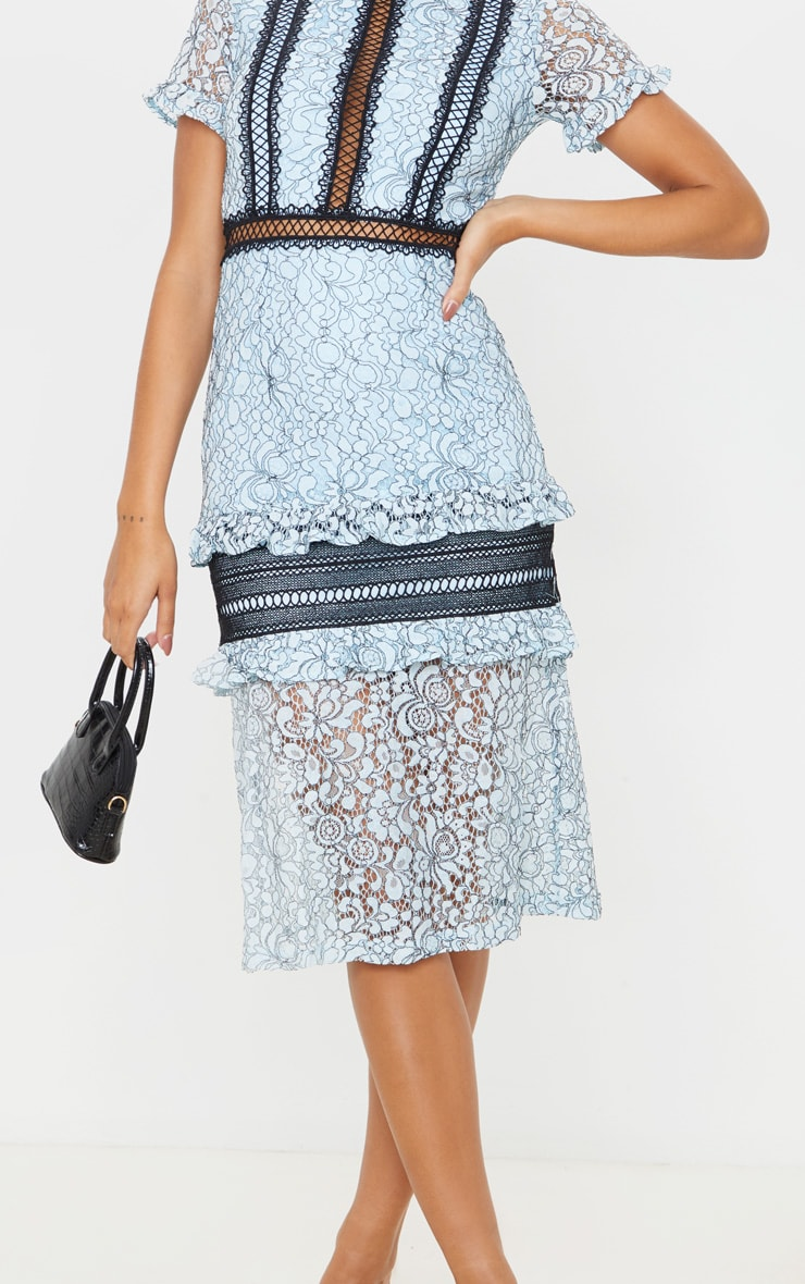 Dusty Blue Lace Ruffle Detail Midi Dress 5