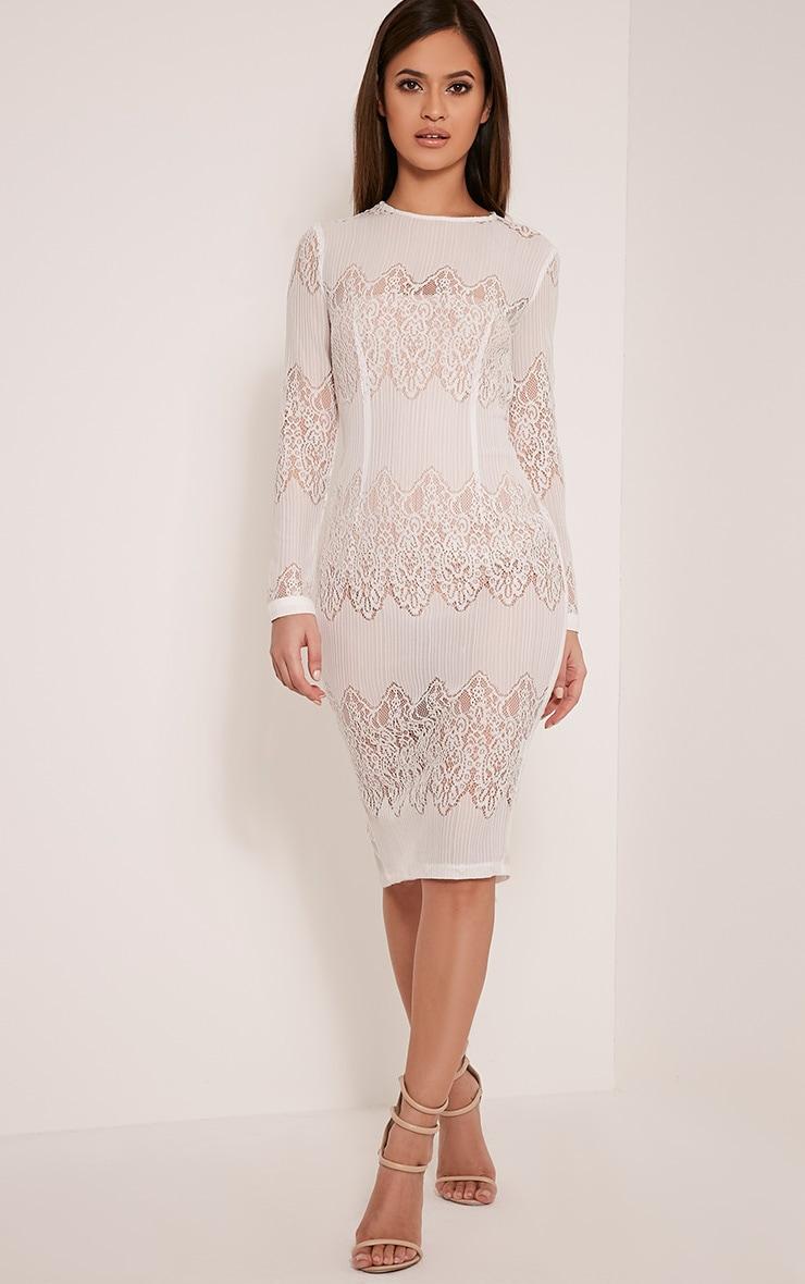 Lottey White Lace Panel Sheer Midi Dress 1
