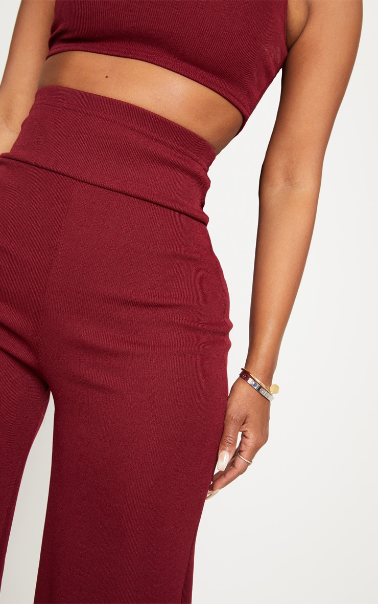 Shape Burgundy Bandage Extreme High Waist Wide Leg Pants 5