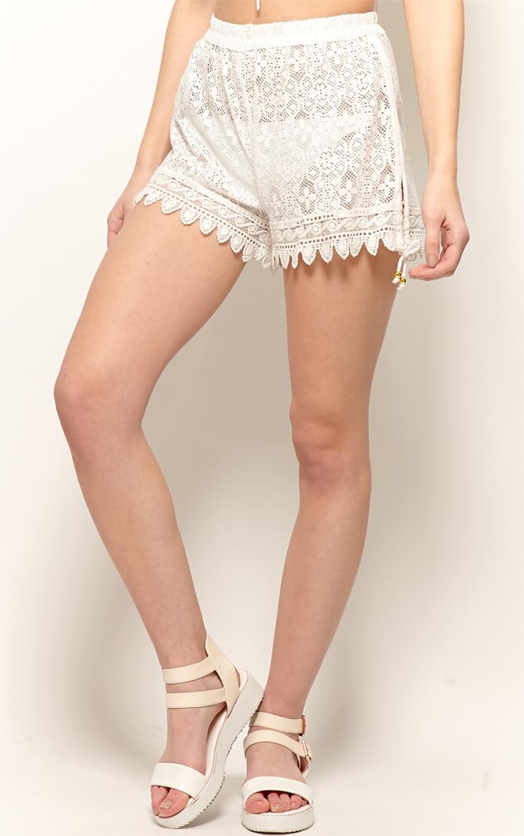 Karlee White Crochet Beach Shorts-L 3