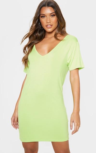 4c52df1ce3b Lime V Neck T Shirt Dress