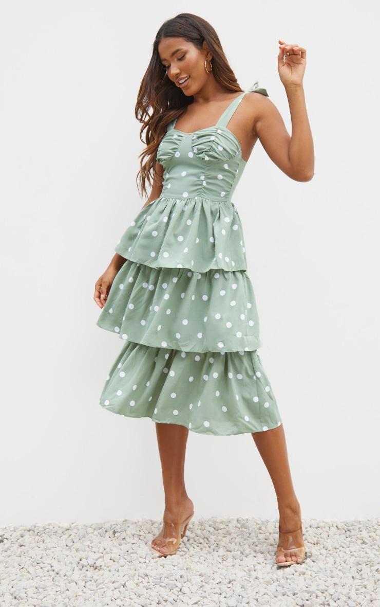 Sage Green Polka Dot Cup Detail Tie Strap Tiered Midi Dress 1