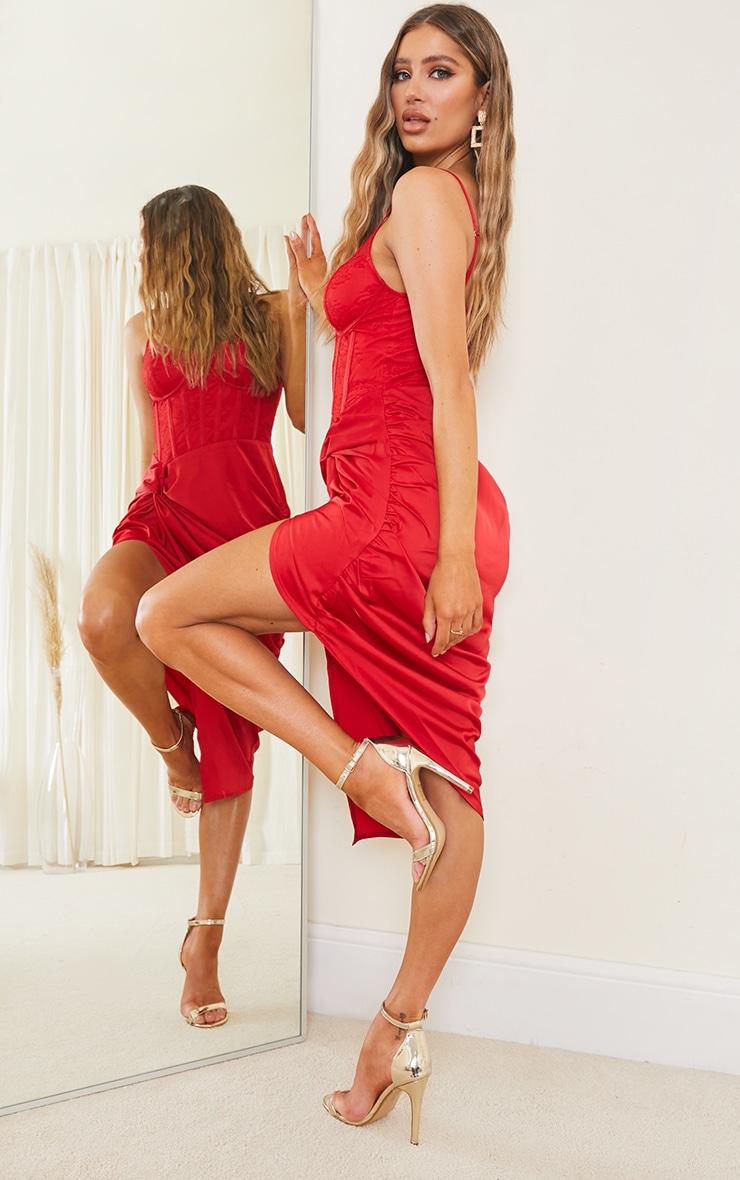Red Strappy Lace Insert Satin Gathered Midi Dress 2