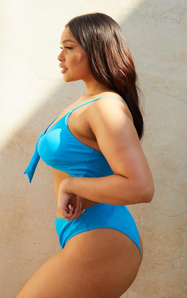 PLT Recycle Plus - Bas de maillot de bain taille haute échancré bleu 2