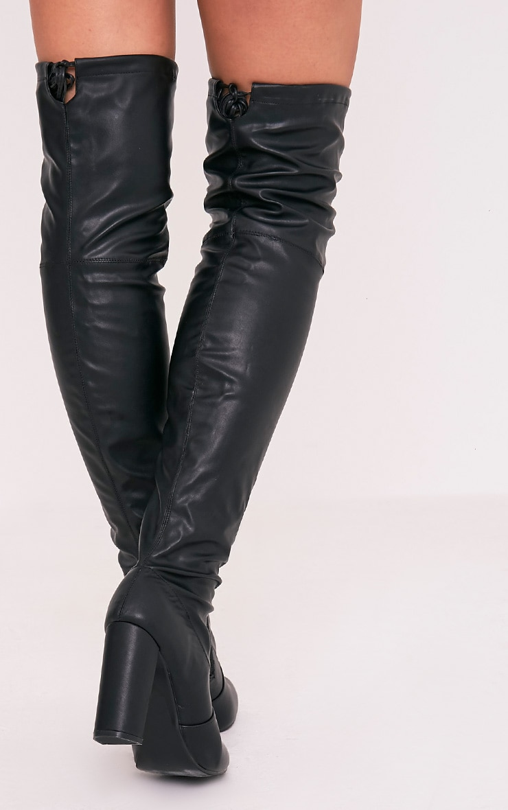 Bess Black Faux Leather Heeled Thigh Boots 4