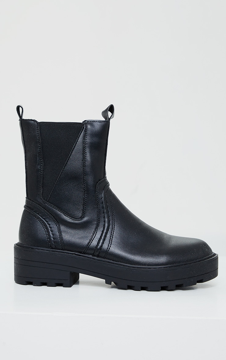 Black Matte PU Chunky Sole Asymmetric Panel Chunky Ankle Boot 4