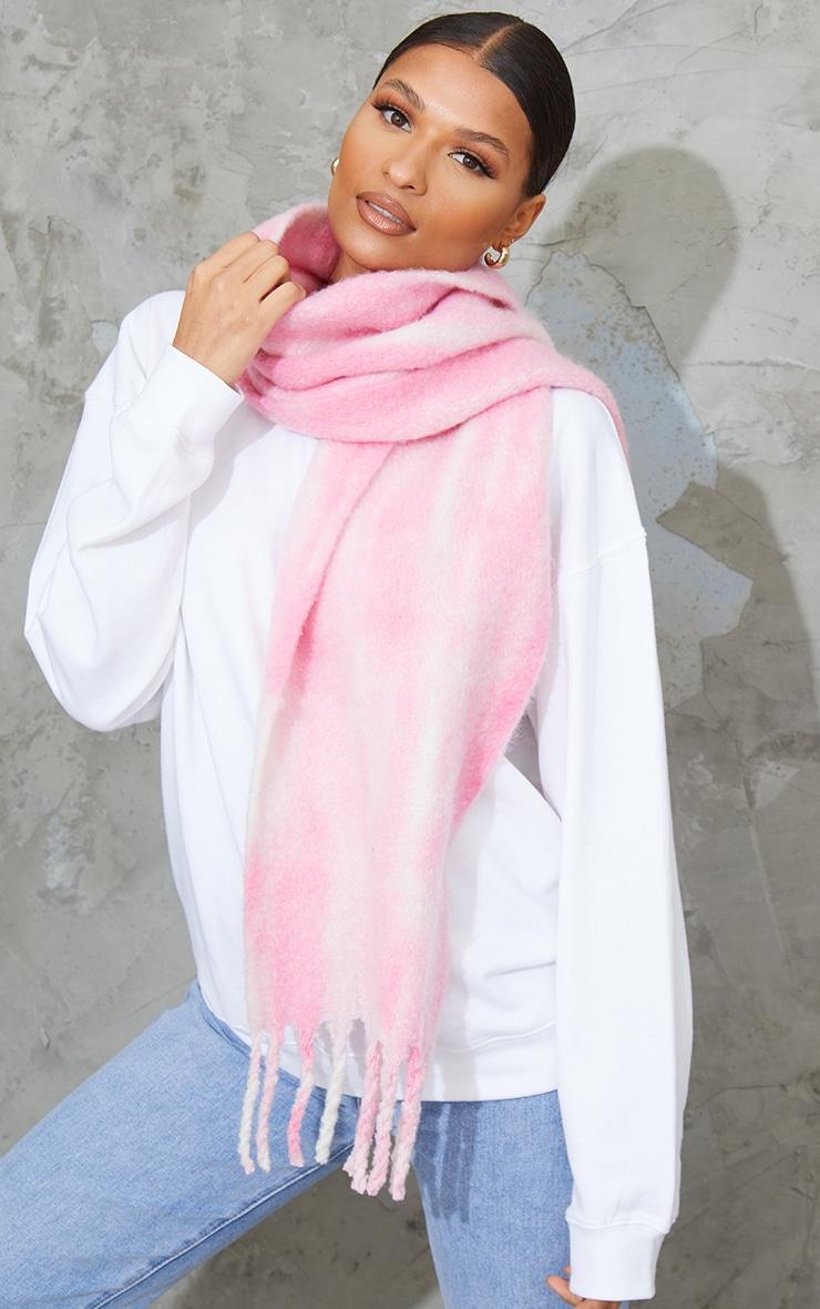 Pink Brushed Tie Dye Scarf 1