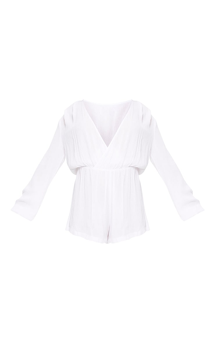 Aleisha White Wrap Front Cheesecloth Playsuit 3
