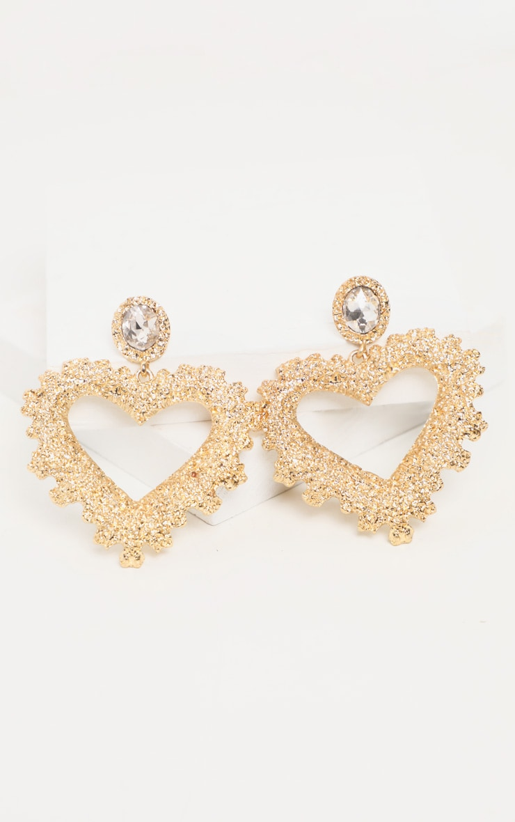 Gold Textured Heart Diamante Stud Drop Earrings 2