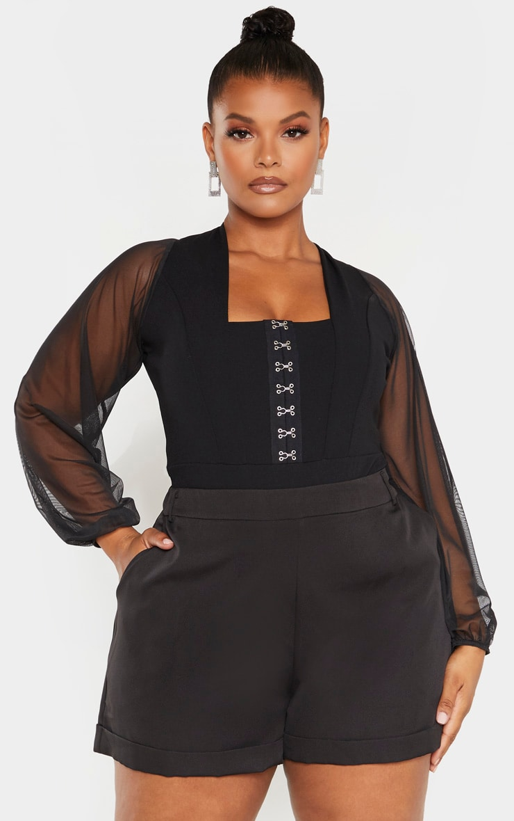 Plus Black Eyelet Detail Mesh Sleeve Bodysuit 1