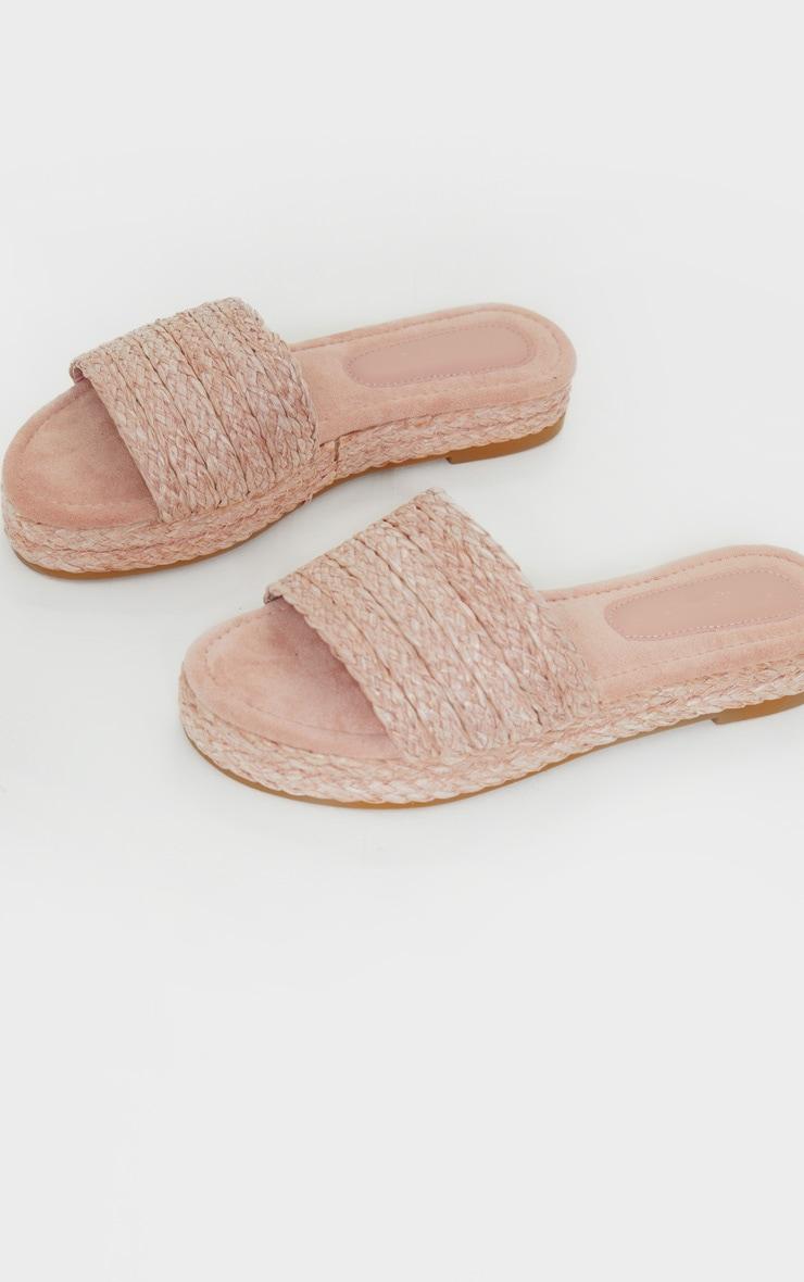 Pastel Pink Raffia Espadrille Mule Sandals 3
