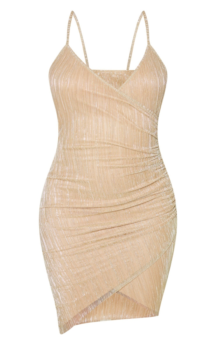 Gold Strappy Plisse Glitter Ruched Side Bodycon Dress 3