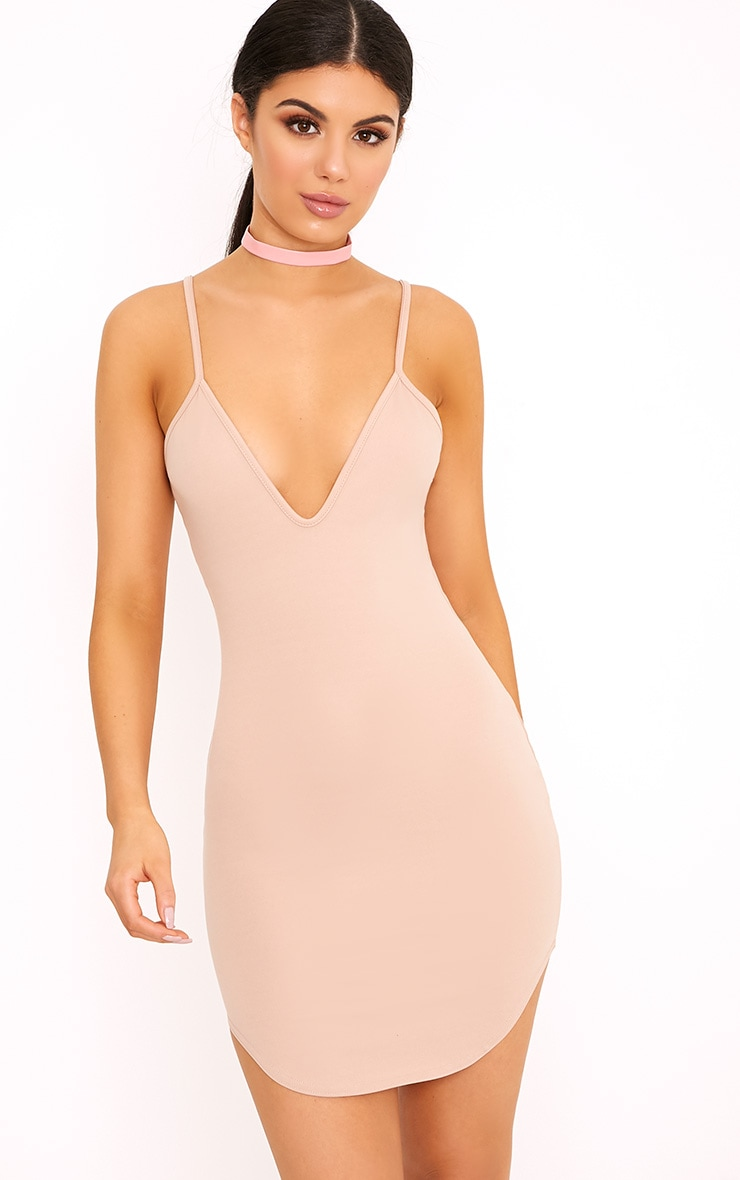 Hattie Nude Strappy Curve Hem Bodycon Dress 1