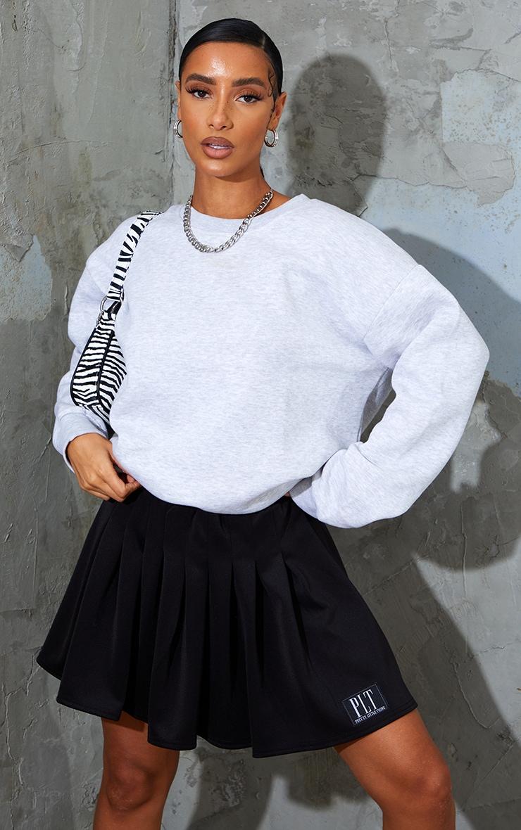 PRETTYLITTLETHING Black Badge Pleated Skater Skirt 1