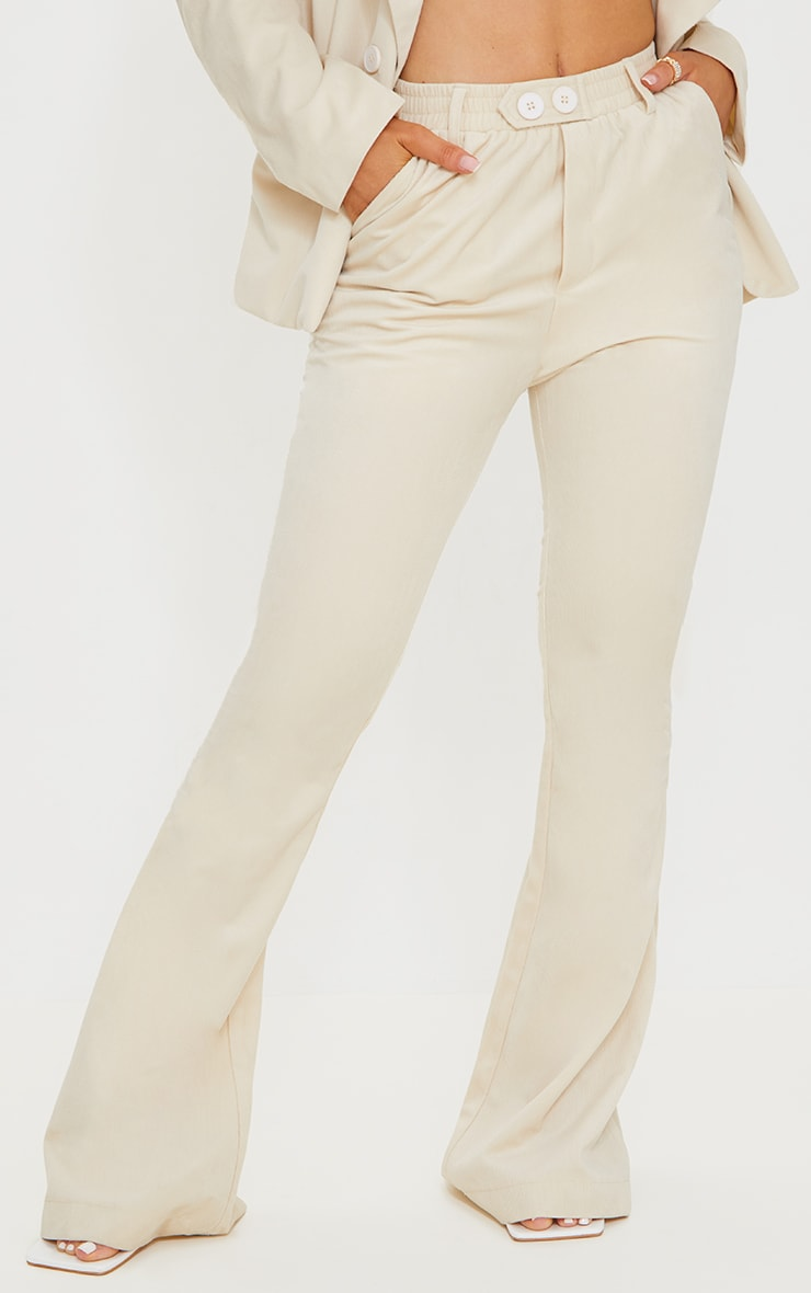 Cream Cord Flared Trousers 2