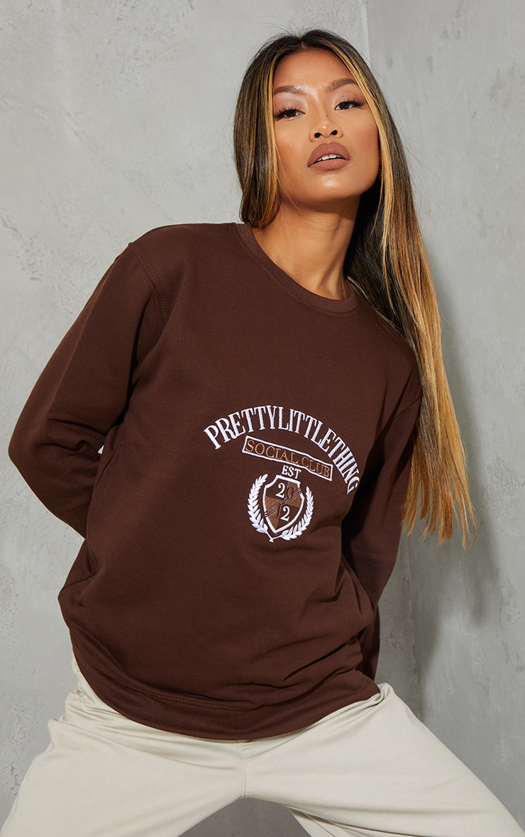 PRETTYLITTLETHING Chocolate Social Club Embroidered Sweatshirt 1