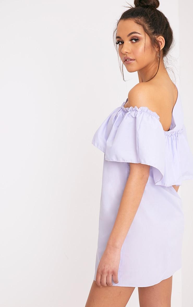 Katarinnah Lilac One Shoulder Frill Shift Dress 2