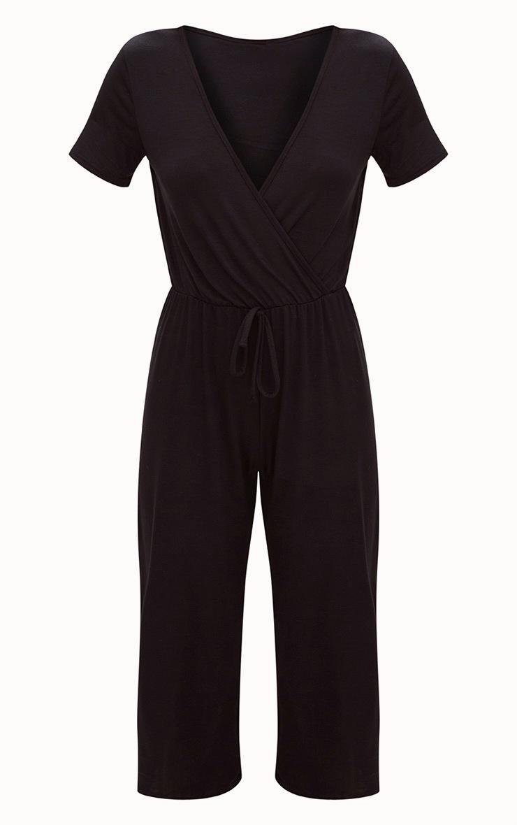 Black Jersey Wrap Culotte Jumpsuit 3