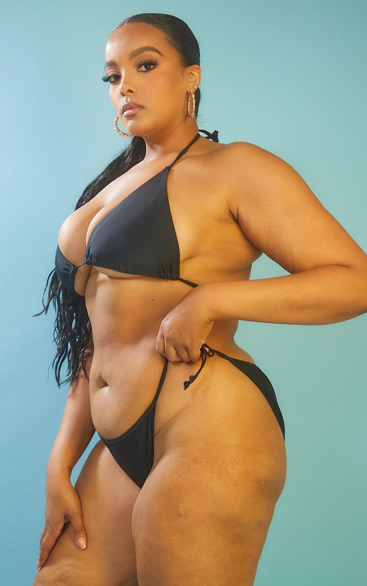 Recycled Plus Black Mix & Match Tie Side Bikini Bottoms 2
