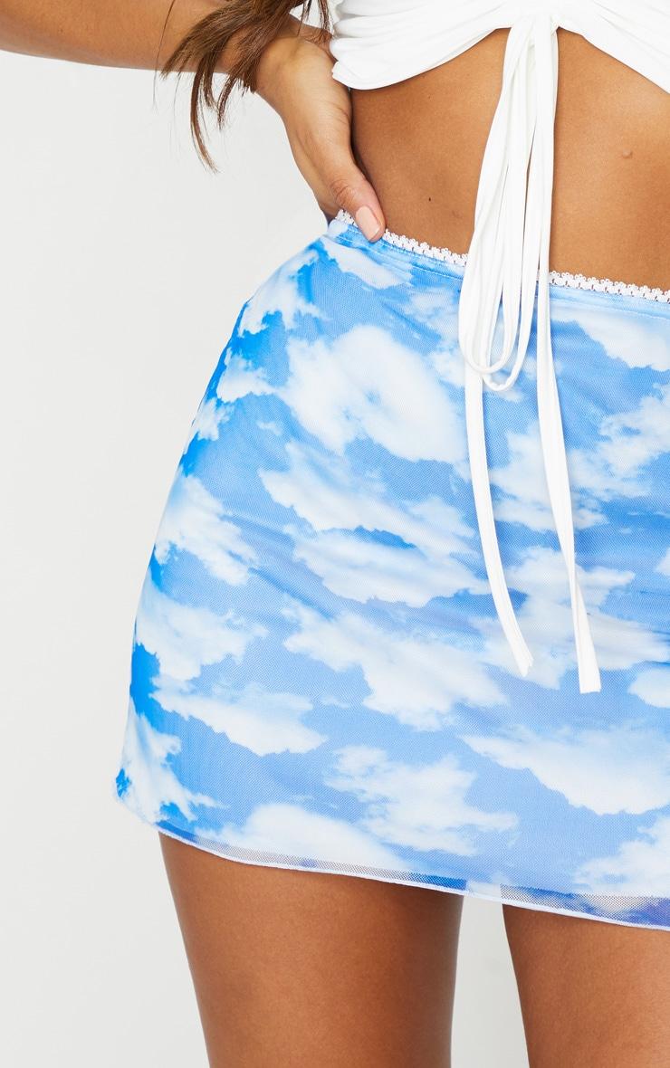 Blue Tie Dye Mesh Lettuce Hem Mini Skirt 5