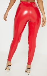 22d40f3575 Red Highwaisted Vinyl Legging image 4
