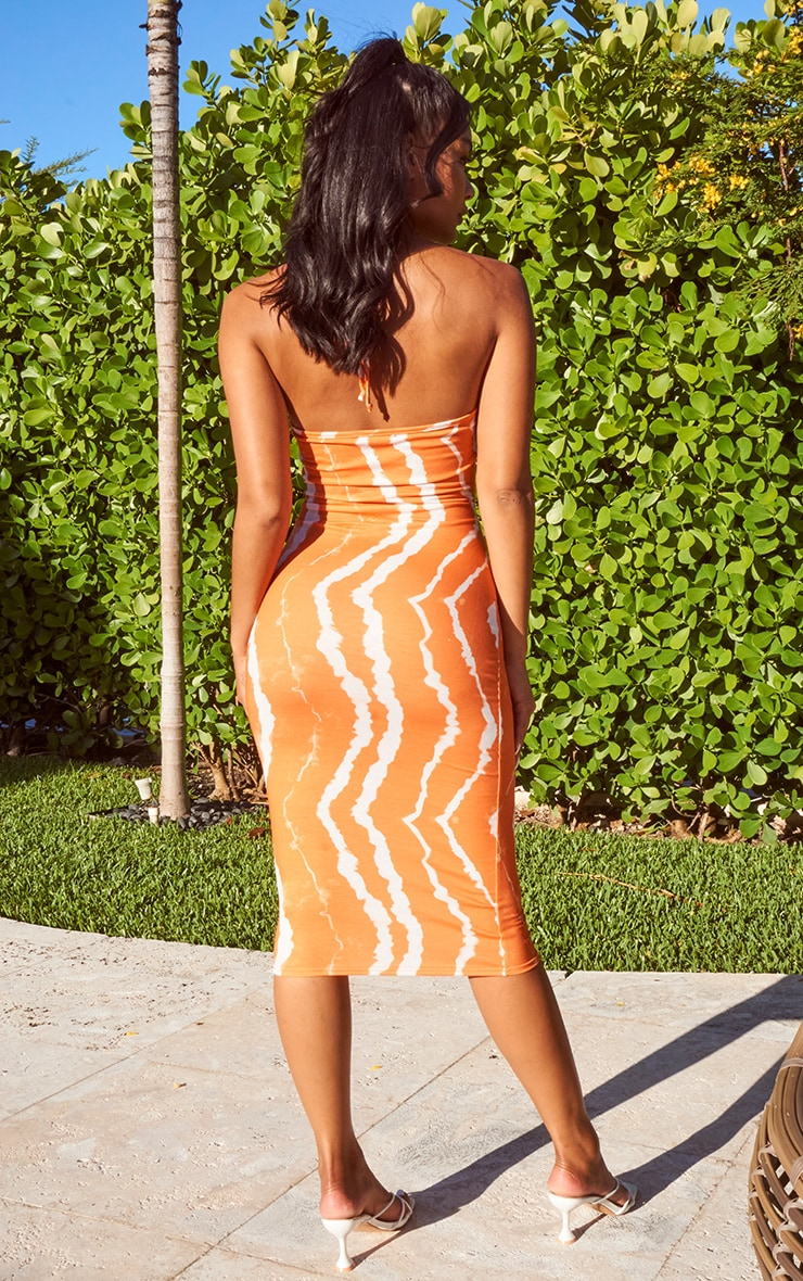 Orange Tie Dye Halterneck Cut Out Midi Dress 2