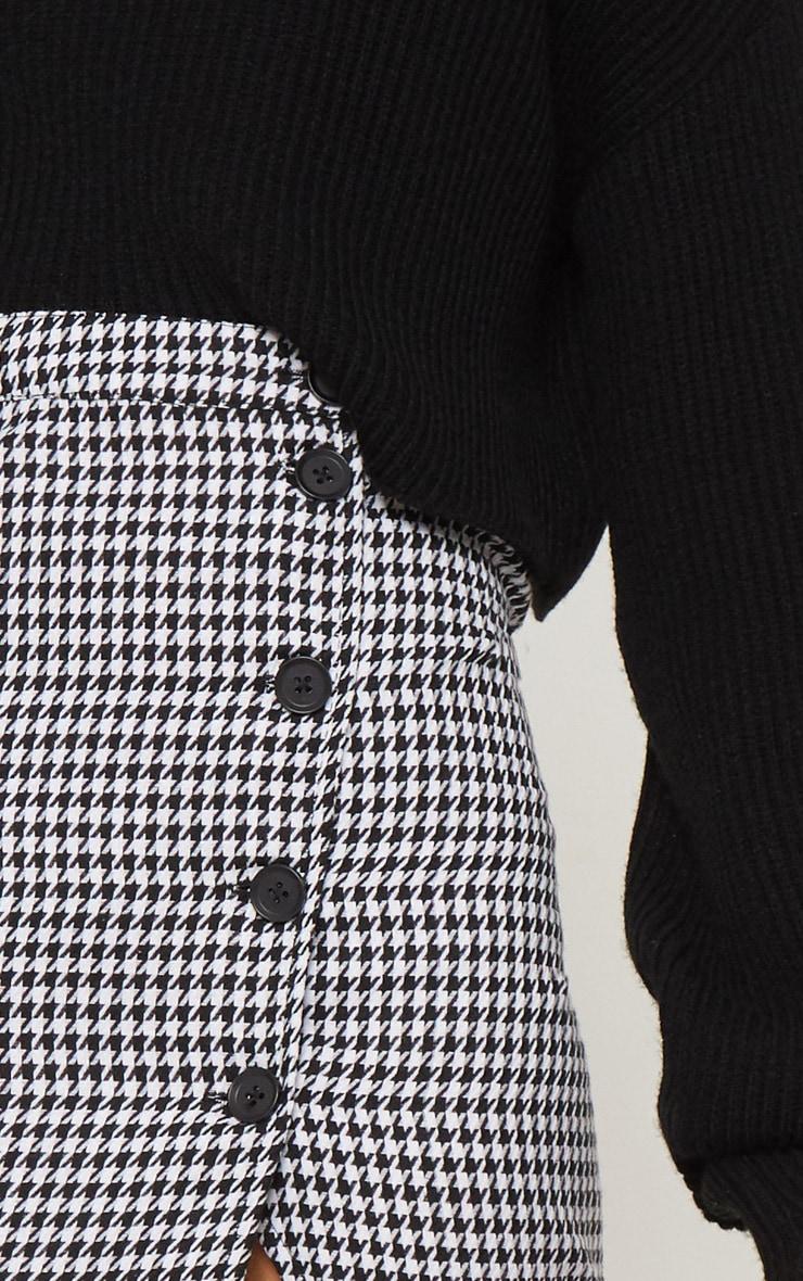 Monochrome Dog Tooth Check Button Detail Midi Skirt  5