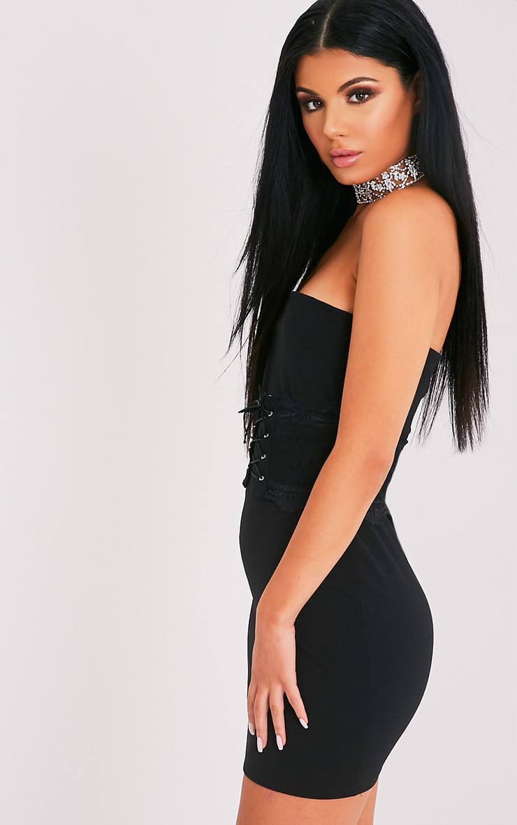 Albanie Black Corset Detail Bandeau Dress 4