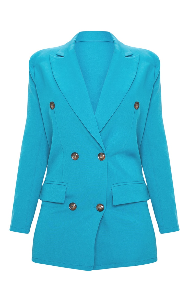 Petite Teal Woven Oversized Longline Button Detail Blazer  3