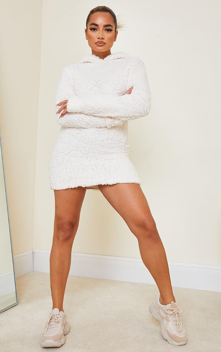 Petite Cream Borg Hooded Jumper Dress 3