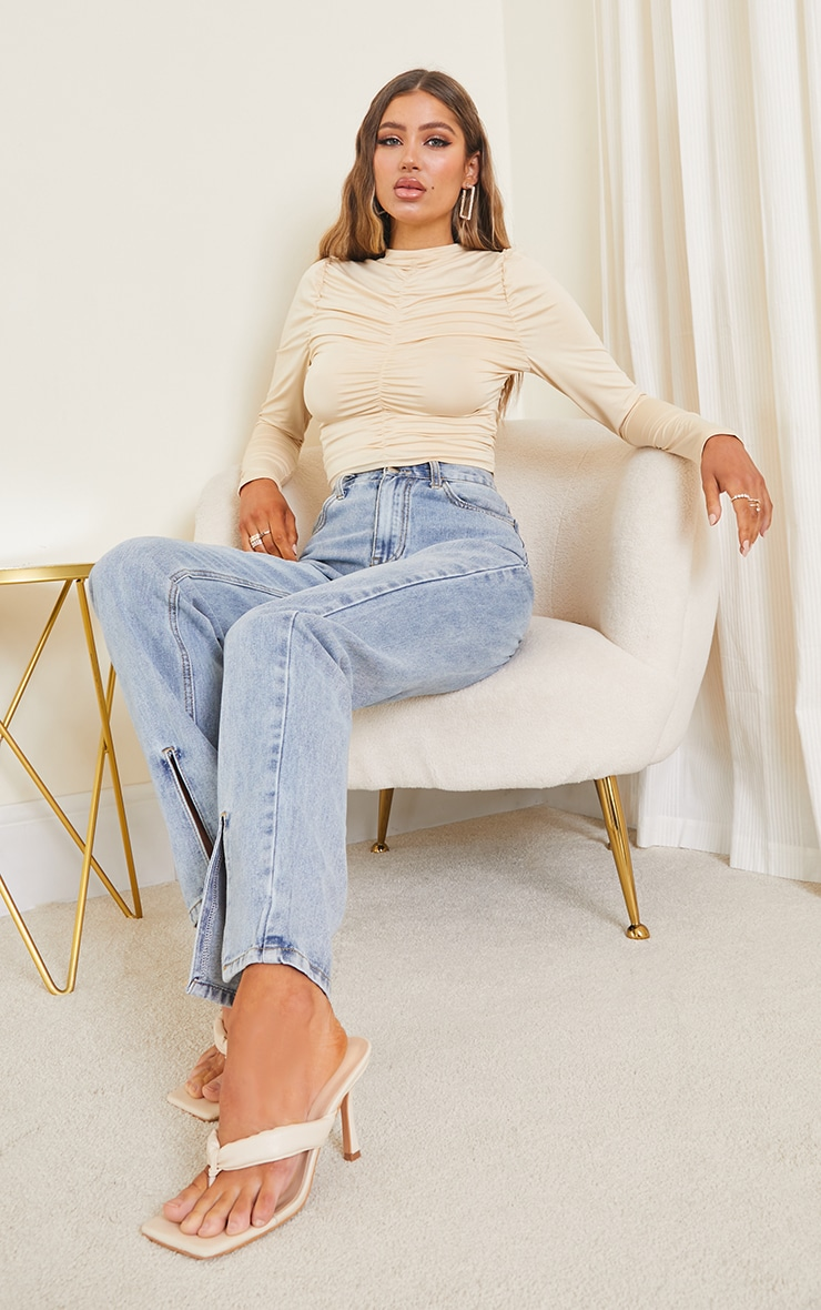Cream Soft Touch Ruched Long Sleeve Crop Top 3