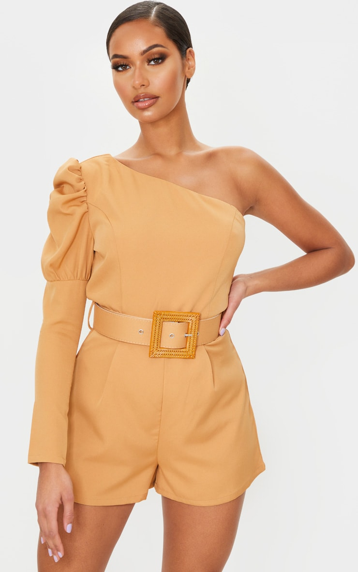 Camel Puff Sleeve One Shoulder Belted Playsuit 1