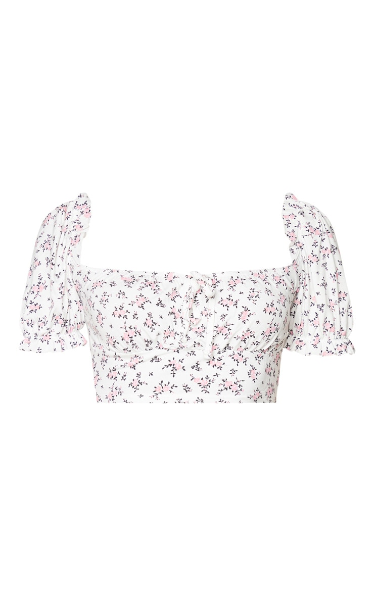 White Printed Jersey Puff Sleeve Frill Edge Crop Top 5