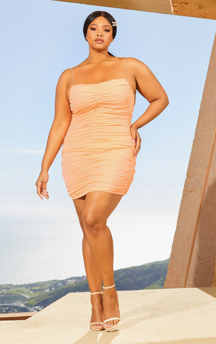 Plus Peach Second Skin Ruched Mesh Bodycon Dress 4