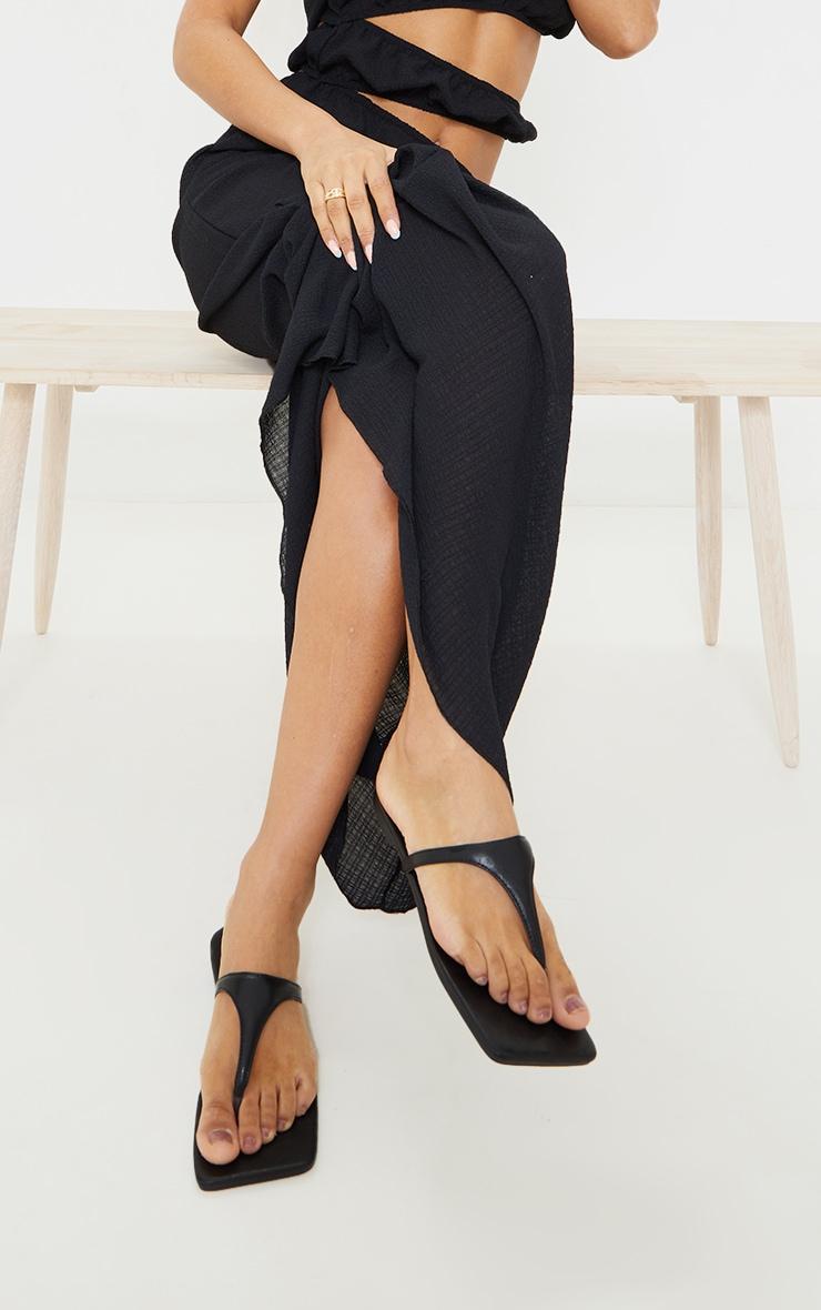 Black Square Toe High Flip Flop Strap Sandals 1