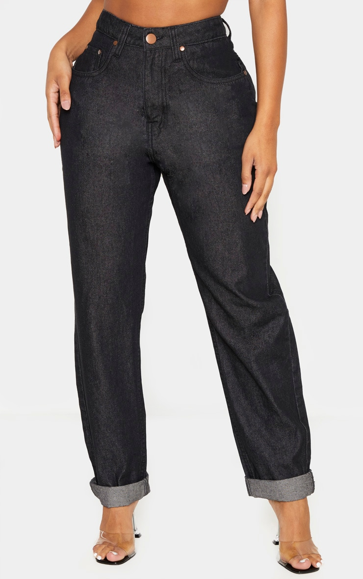 Shape Washed Black Mom Jeans 2