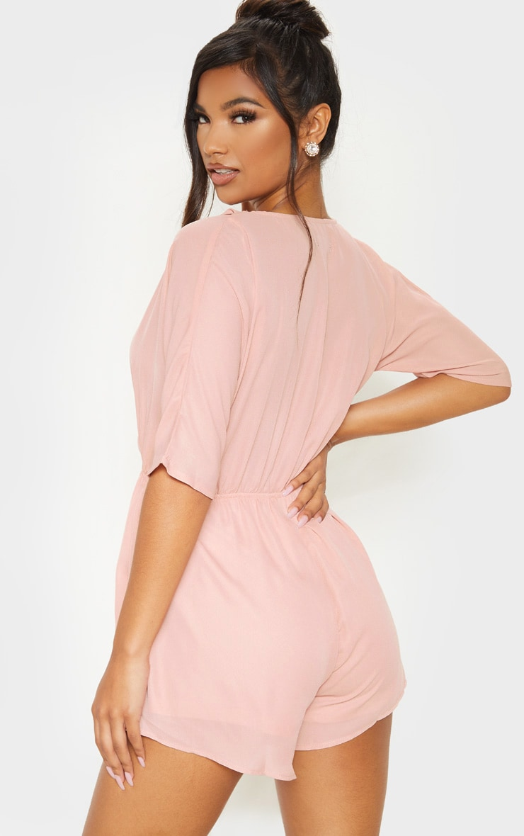 Bobby Nude Chiffon Wrap Front Playsuit 2