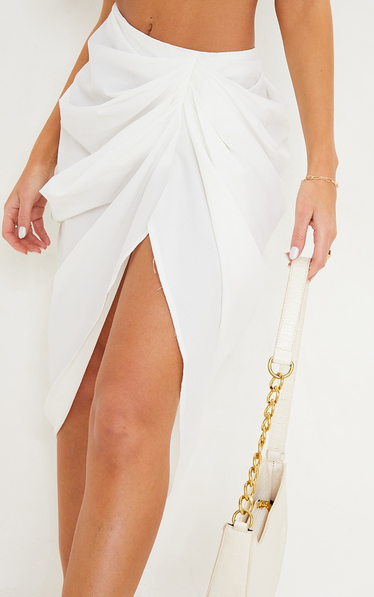 White Textured Woven Ruched Side Midi Skirt 4