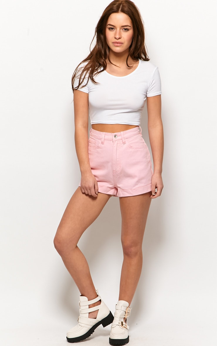 Tansy Pink Denim High Waist Shorts 1