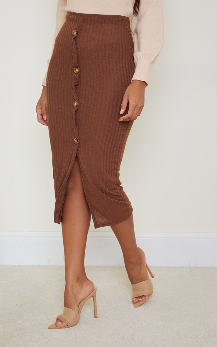 Chocolate Textured Rib Button Front Midaxi Skirt 2