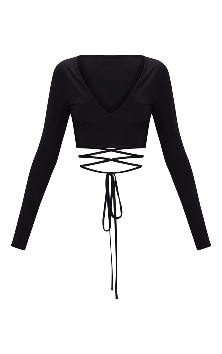 Black Slinky Long Sleeve Tie Waist Crop Top  3