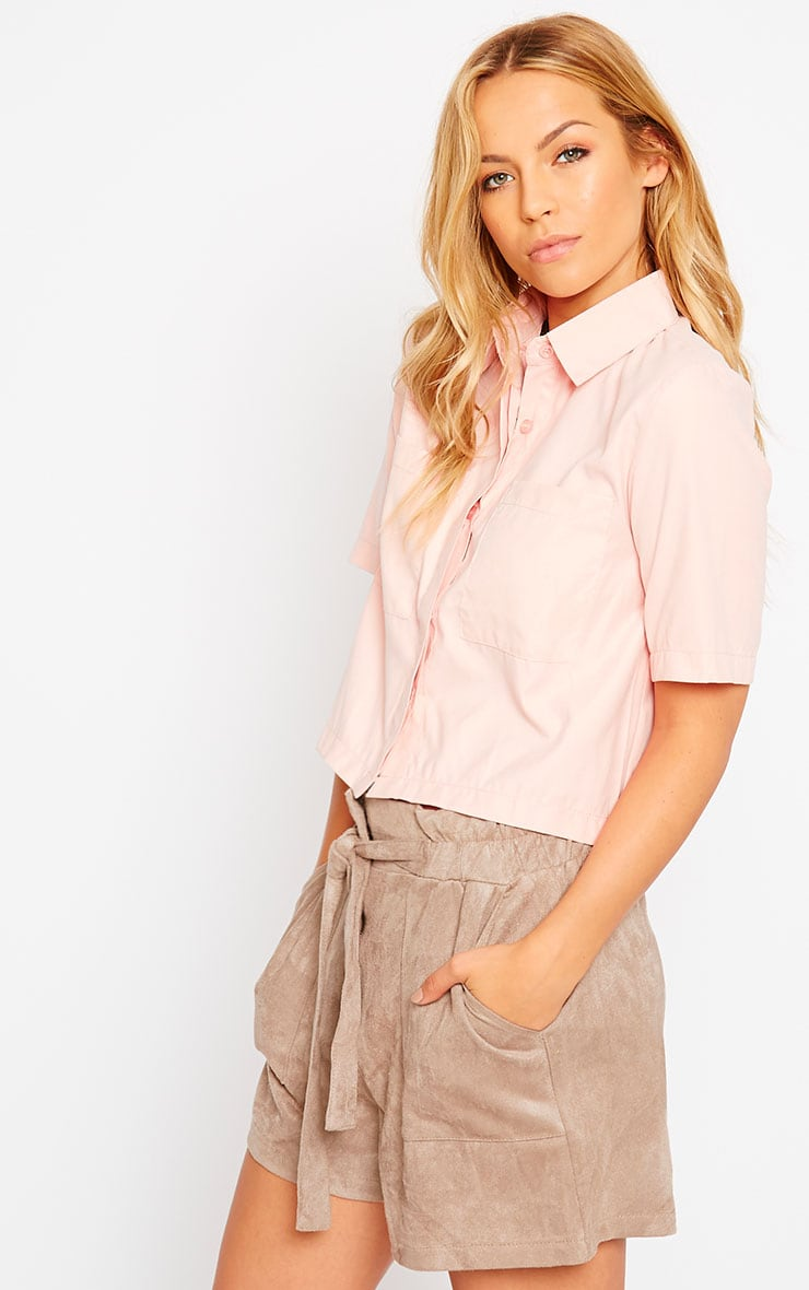 Brona Pink Crop Utility Shirt 4