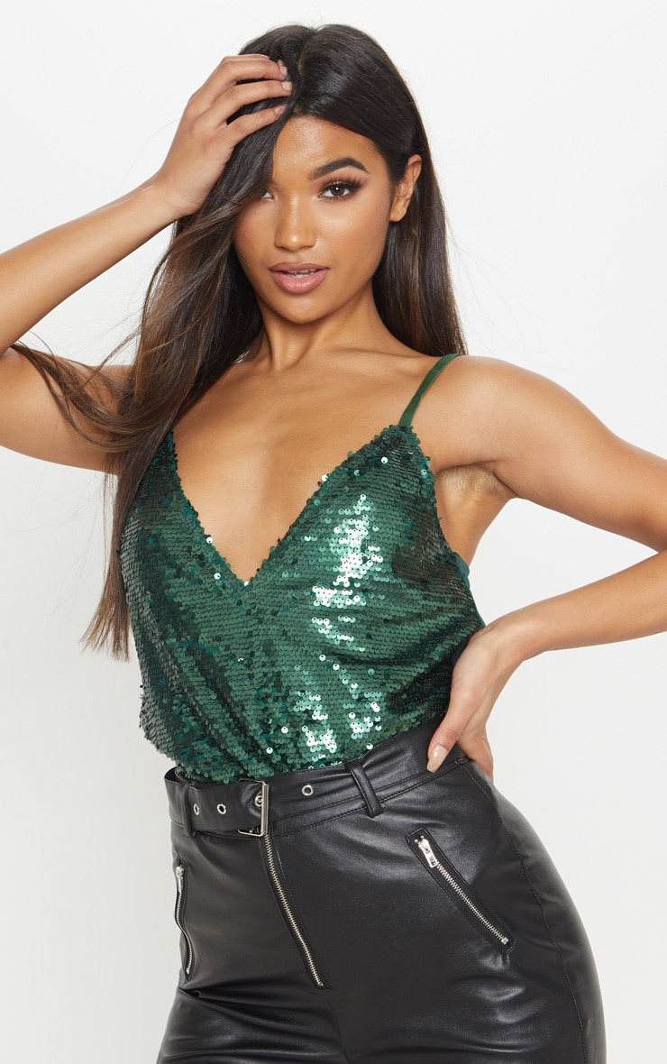 Emerald Sequin Front Cami Top 1