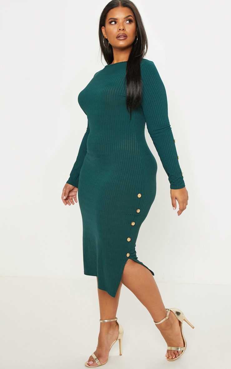 Plus Emerald Green Ribbed Tortoise Button Detail Midi Dress 4