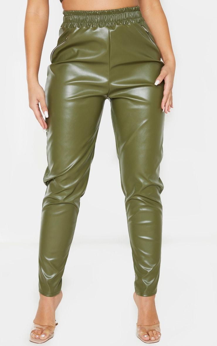 Pantalon fuseau en similicuir kaki à détail zip 2