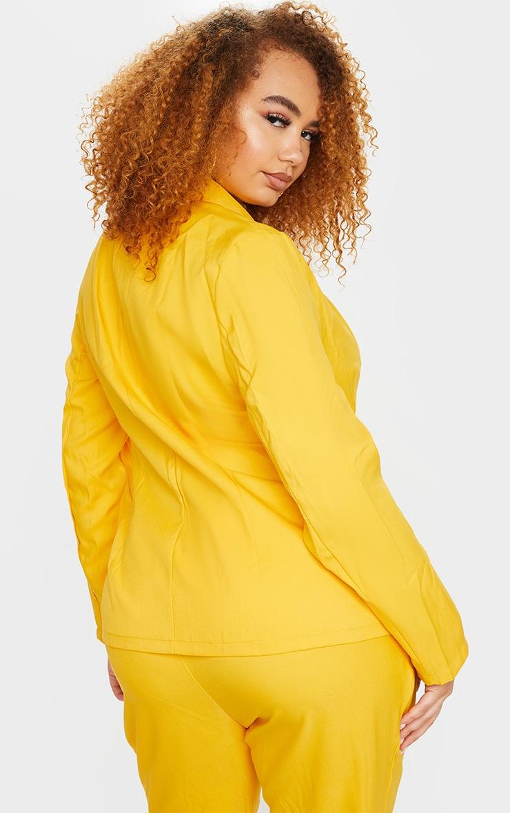 Plus Chartreuse Woven Button Blazer 2